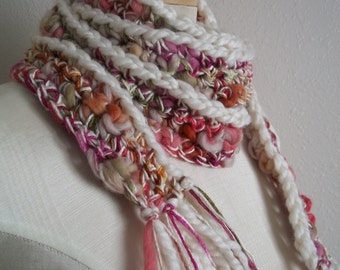 crocheted thick and thin art yarn wool bamboo scarflette skinny scarf with fringe ~ waterlillies ~