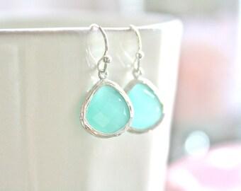 Mint Earrings, Dangle Earrings, Mint Wedding, Bridesmaids Jewelry, Bridesmaids Gift, Blue Earrings Light Blue Wedding Best Friend Gifts Mom