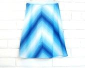 70's CHEVRON MIDI SKIRT vintage striped stripes blue gradient sz M
