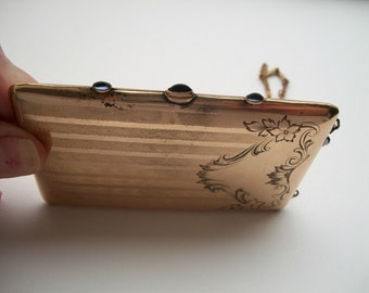 Antique Gold Shell Jeweled Card Case Engine turned and Hand Chased Mirror Compact Dance Purse Heavy Chain One of a Kind Floral Design Small