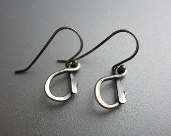 Silver Ampersand Earrings Silver Hammered Earrings Oxidized Silver Earrings