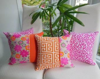 Decorative Pillow - Orange Greek Key and Bold Hot Pink/Orange Flower Design Pillow - Reversible 15 x 15 Inch - Teen Girls Bedroom Decor