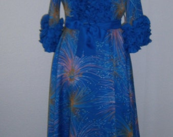 Vintage 60s 70s hostess gown, Mad Men style