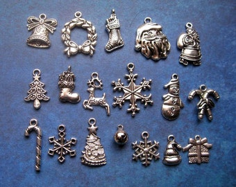 SALE Collection of 18 Christmas Charms in Silver Tone - C2043