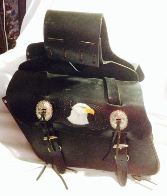vintage cuir v u00e9ritable moto sacoches lat u00e9rales sac avec eagle