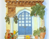 """Tropical Vintage Wall Hanging Of Residence Doorway Brian Baker Summer Breeze Collection """"Aladdin's Place"""" Hand Cast Mediterranean Colors"""