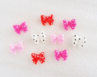 16pcs - Mini Polka Dot Bow Mix Decoden Cabochons (13x11mm) BW10004