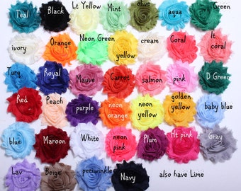 "Shabby Flowers - Chiffon Frayed Flowers - Fabric Flowers - Set of 10 - You Pick Colors - 2.5"" Flower - Wholesale Fabric Flower Set - REGULAR"