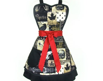 Nevermore Edgar Allen Poe Inspired  Double Skirt Apron/ Red and Black apron