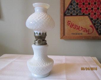 Vintage Oil Lamp, Milk Glass Lamp, Miniature Oil Lamp, Hurricane Lamp, Courting Lamp, Home Decor, Night Light