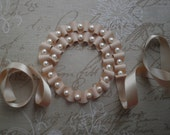 SALE Ivory ribbon necklace. Ivory pearl necklace with white glass pearls