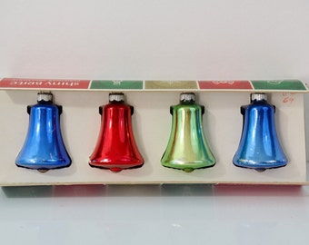 Shiny Brite Christmas Bells Vintage Ornaments Boxed Set of 4 Four Original Box Blue Red Green  1950's