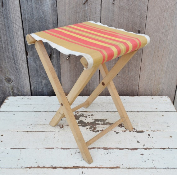Vintage Folding Camp Stool Wood Canvas By Relicsandrhinestones