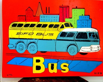 1950s Retro Sifo Upper Decker City Bus with Driver in Cityscape Wooden Puzzle