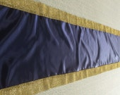 Custom Made  Navy Blue Satin Table Runner 90 x 16 With  Gold Bling Border