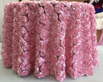 Custom Made Pink Rose Petal  Rosette Tabelcloth 108 inches Round