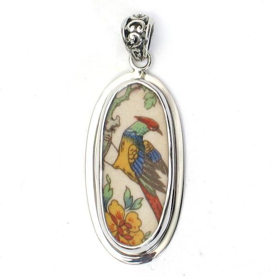 Broken China Jewelry Pheasant Bird Oval Sterling Pendant
