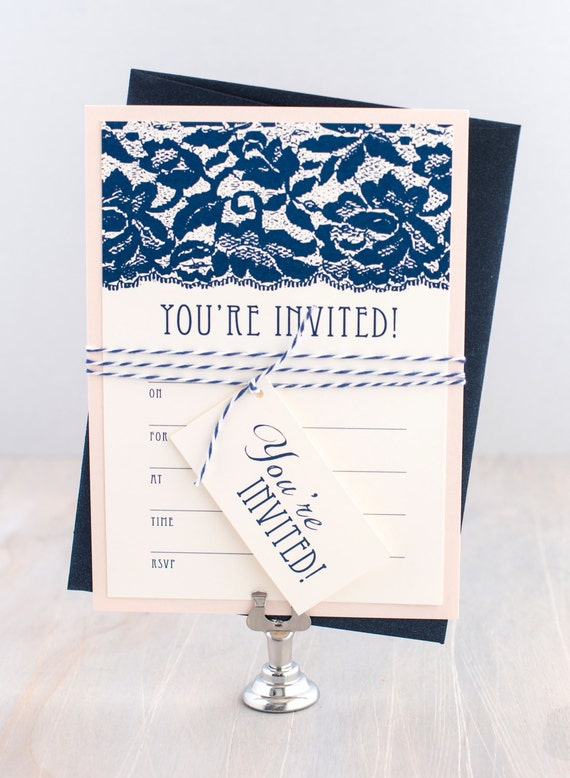 Fill in lace bridal shower invitations rehearsal cards fill for Bridal shower fill in invitations