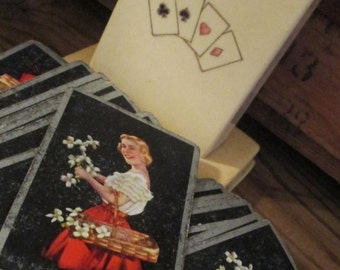 Vintage Celluliod Playing Card Deck Storage/Case with Vintage Playing Cards.  Y-093
