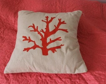 Sale!!  Coral Pillow cover on Canvas Fabric-Beach Decor