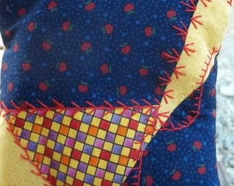 Cotton Wee Crazy Quilt Pillow Embroidered  Country Colors