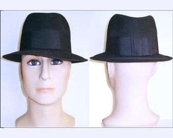 Vintage 1940s Fedora Hat  .   Gangster   .  Hess Brothers  .  Dark Gray . Mad Man Rockabilly Designer Hat Retro