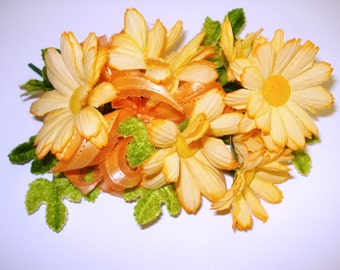 Vintage Flower Corsage .  Brooch . Pin  . Orange Daises