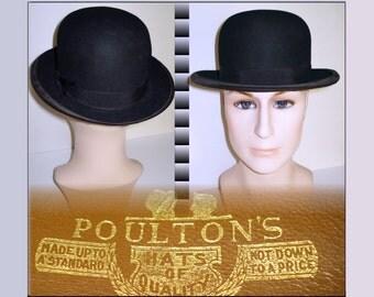 1930'S Black Derby Bowler Hat  . Vintage Fedora Men's  Hat  .  1930s  . 30s Fedora Hat  .