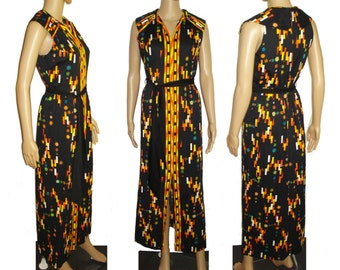 Vintage 1960s Dress  .  Maxi  . Bohemian   . Couture . Garden Party . Retro . Drazens . City of Fashion . Gown