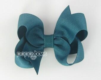 Hair Bow Jade - girls hair bows - toddler hair bows - baby hair bows - little girl hairbows - 3 inch bows - girls hair clips barrette