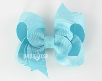 Robins Egg Blue Hair Bow 3 Inch Boutique Hair Bow - Baby Toddler Girl - Solid Color Hair Clip - Aqua Blue