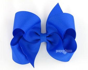 Girls Hair Bow Cobalt Blue hair bow - large hair bows - girls big bows - hair bows for toddlers - big hair bows - 4 inch bows - boutique bow