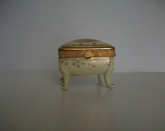 vintage romance trinket box . porcelain hand painted Victorian box . vintage trinket box . vintage Victorian romance . vintage shabby chic