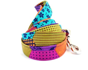 Bohemian Patchwork Dog Leash, Colorful Dog Leash, Girl Dog Leash, Dark Colored Dog Leash, Patchwork Design