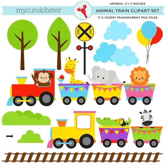 Animal Train Set : Animal train clipart set clip art of by