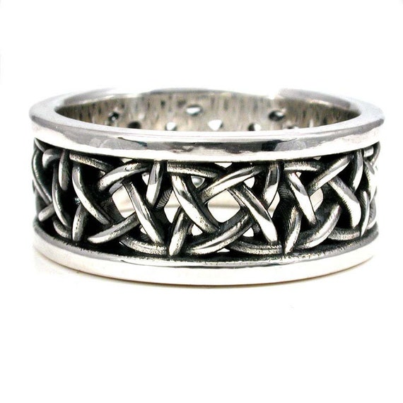sterling silver square celtic knot wedding ring mens engagement