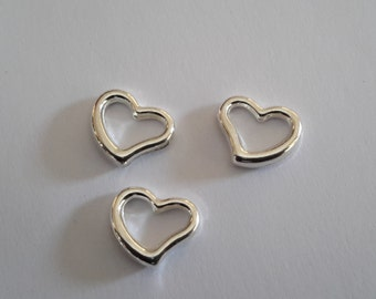 8 Solid Sterling Silver 3D puff heart Connector Chain link extender beads