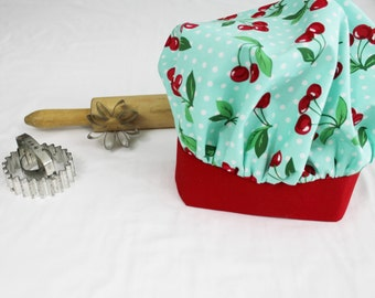 Retro Cherries on Aqua with Red Band Child Chef Hat - Adjustable