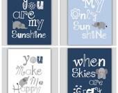 Elephant Art // You Are My Sunshine Art Prints // Navy Blue and Gray Art Prints // Art for Baby Boy// Navy Blue Nursery Decor//4-8x10 PRINTS