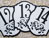 Wedding Table Numbers in Black and White - Damask Cutout - Choose Your Colors