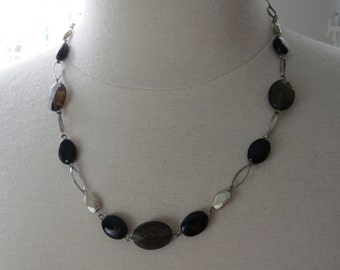 Vintage Silver and Glass Beads Beaded Chain Necklace