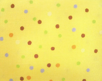 Clothworks Fabric, Leslie Clark, Newton All Year, 29014-2, Novelty, Polka Dots, Basics, Yellow, Multi Color Dots