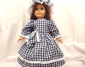 Navy blue and white gingham dress for 18 inch dolls, double skirted with white lace trim.