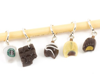 Knitting / Crocheting  stitch markers - miniature coffee cup and four chocolates set