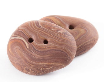 Polymer clay buttons large brown sea pebbles imitation set of two