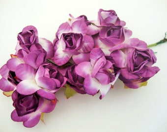 Medium Purple and White Mulberry Paper Roses Flowers Large