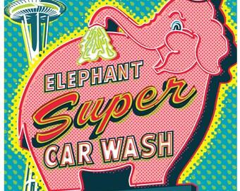 Elephant Car Wash - Seattle - Space Needle - Pop Art Poster Print