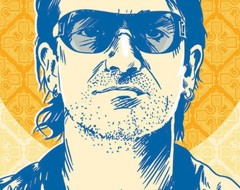 Bono - U2 - Pop Art Print - 18 x 24 and 24 x 36