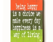 Wooden Art Sign Planked Being Happy Is A Choice We Make wall decor melon green painted stripes