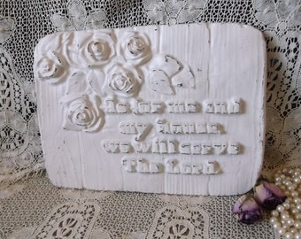 As for me and My house, Joshua, scripture, chalkware Vintage, shabby white, wall plaque
